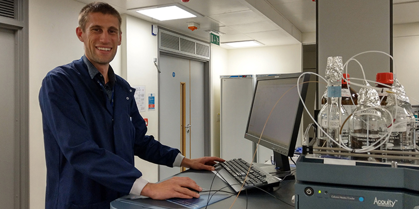 Dr Luke Whiley at work in the lab