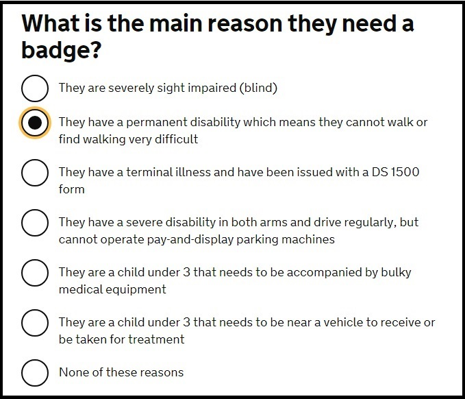 Question from the gov.uk online blue badge application form