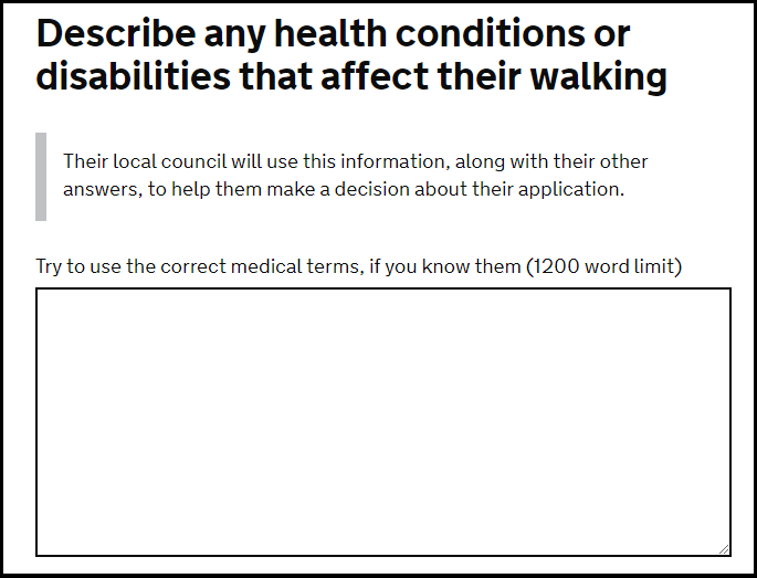 Question about walking problems from the gov.uk blue badge online application form