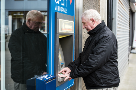Man at cash point