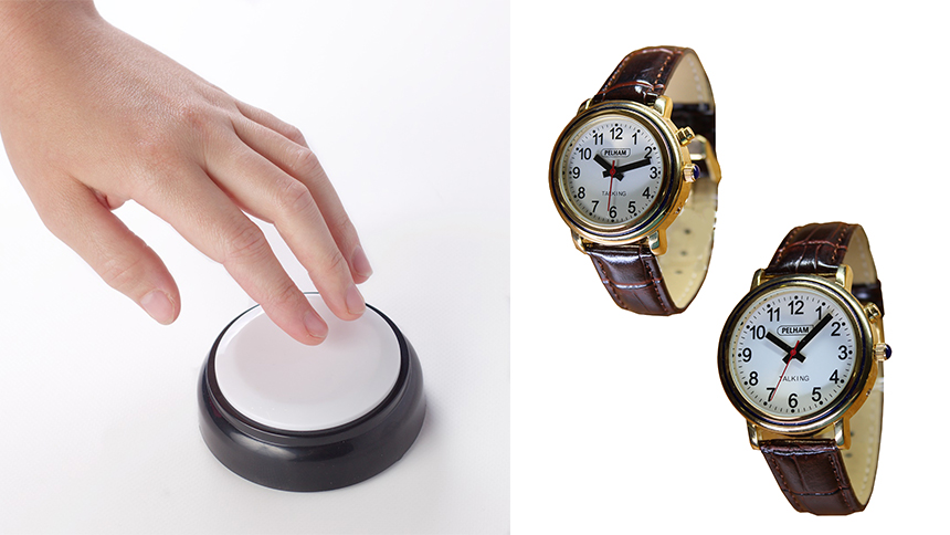 A button and watch that speak the time