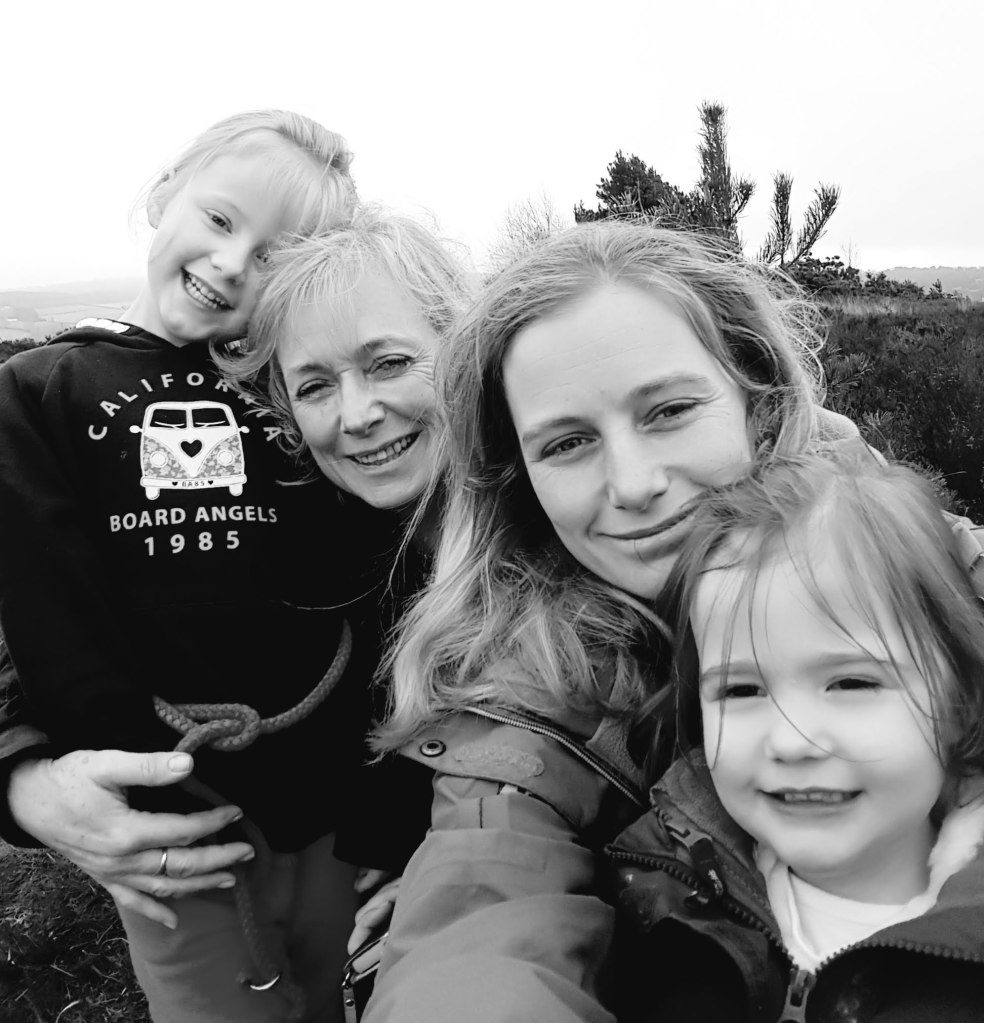 Hannah with her mum and children