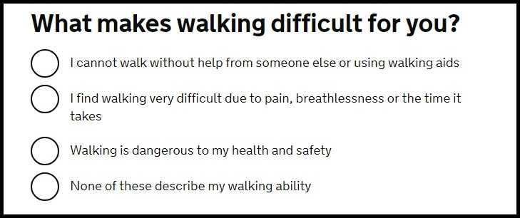 Question about walking difficulties from the gov.uk online blue badge application form