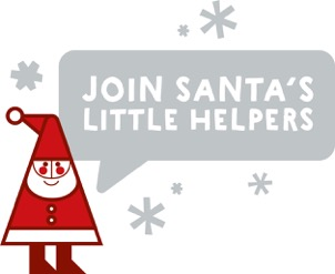A cartoon of Santa saying 'Join Santa's little helpers'