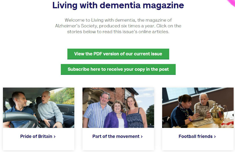 Living with dementia magzine