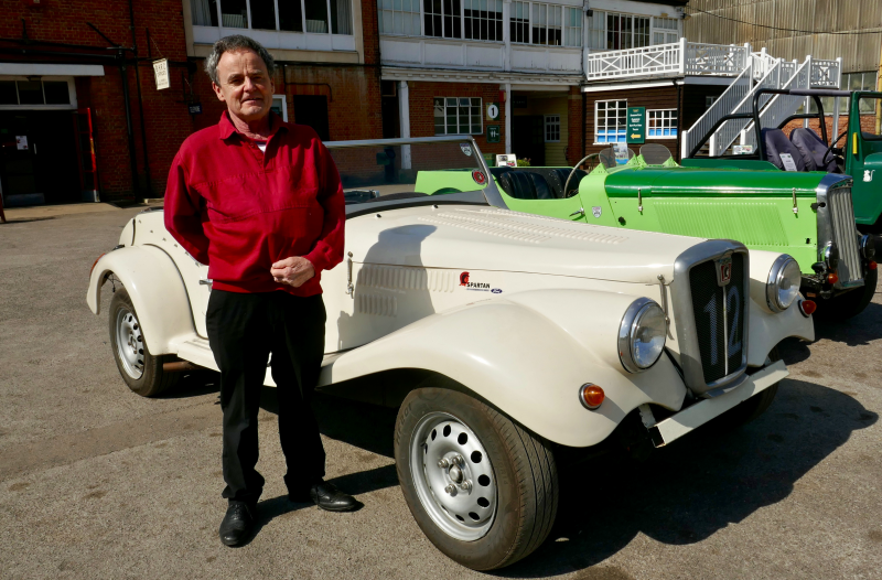 John, Side by Side service user in front of a classical car