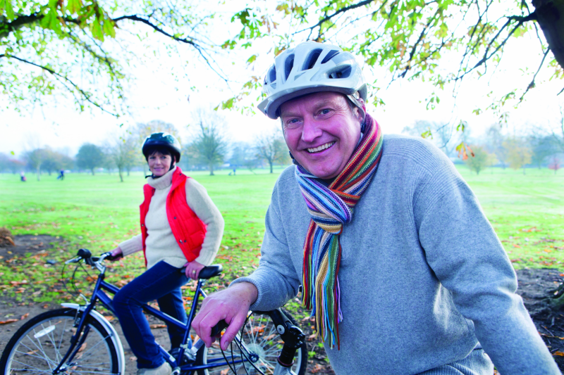 Couple on bikes to stay healthy