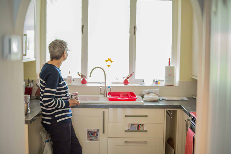 Wendy Mitchell in her kitchen