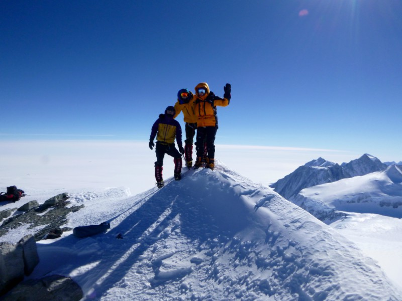 At the summit of the Antarctica trek
