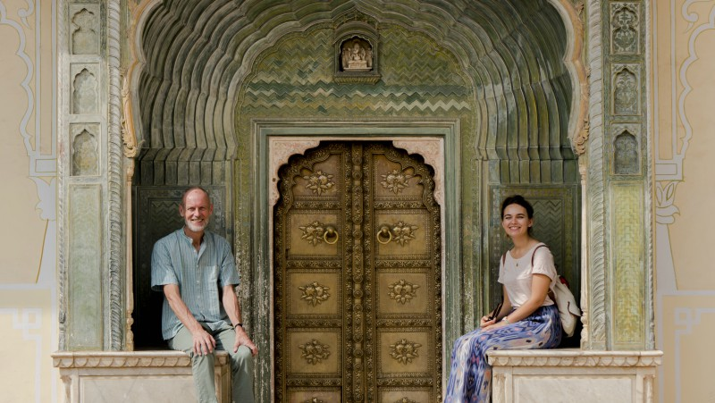 Katherine and her dad in Jaipur