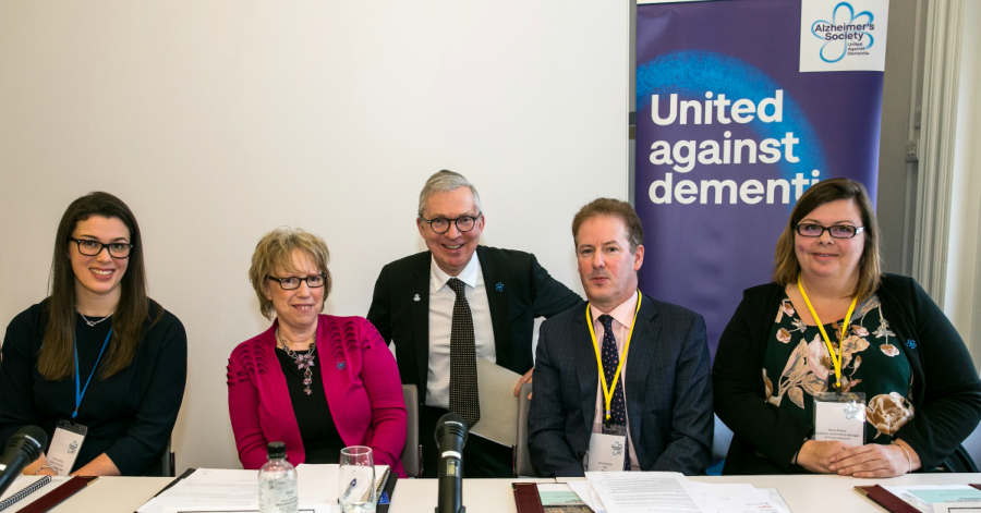 Dermot Nolan, CEO of Ofgem, Jeremy Hughes and Hilary Doxford smiling at the dementia-friendly utility guide launch.