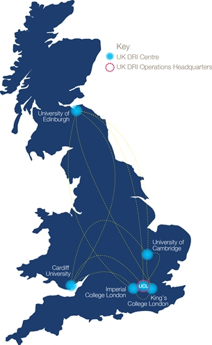 Map of the Dementia Research Institute centres