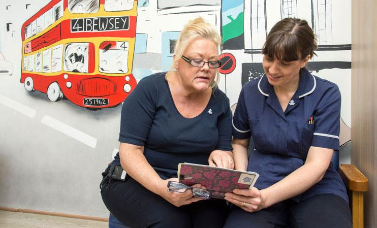 Debra Carberry and Deborah Hammond on Warrington Hospital's Forget Me Not ward.