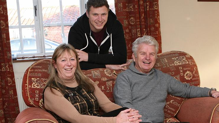 Martin Anderton at home with his family.