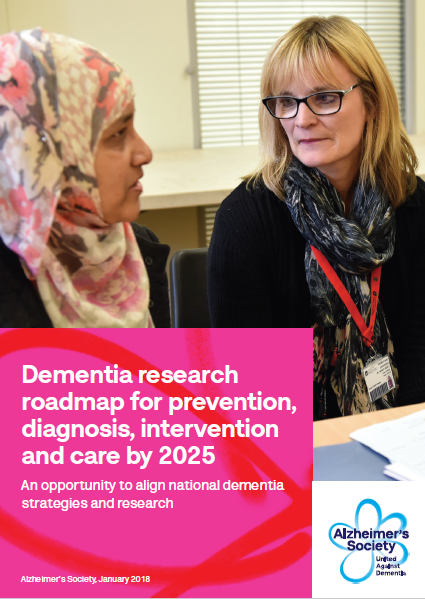 Front cover for 2018 dementia care roadmap