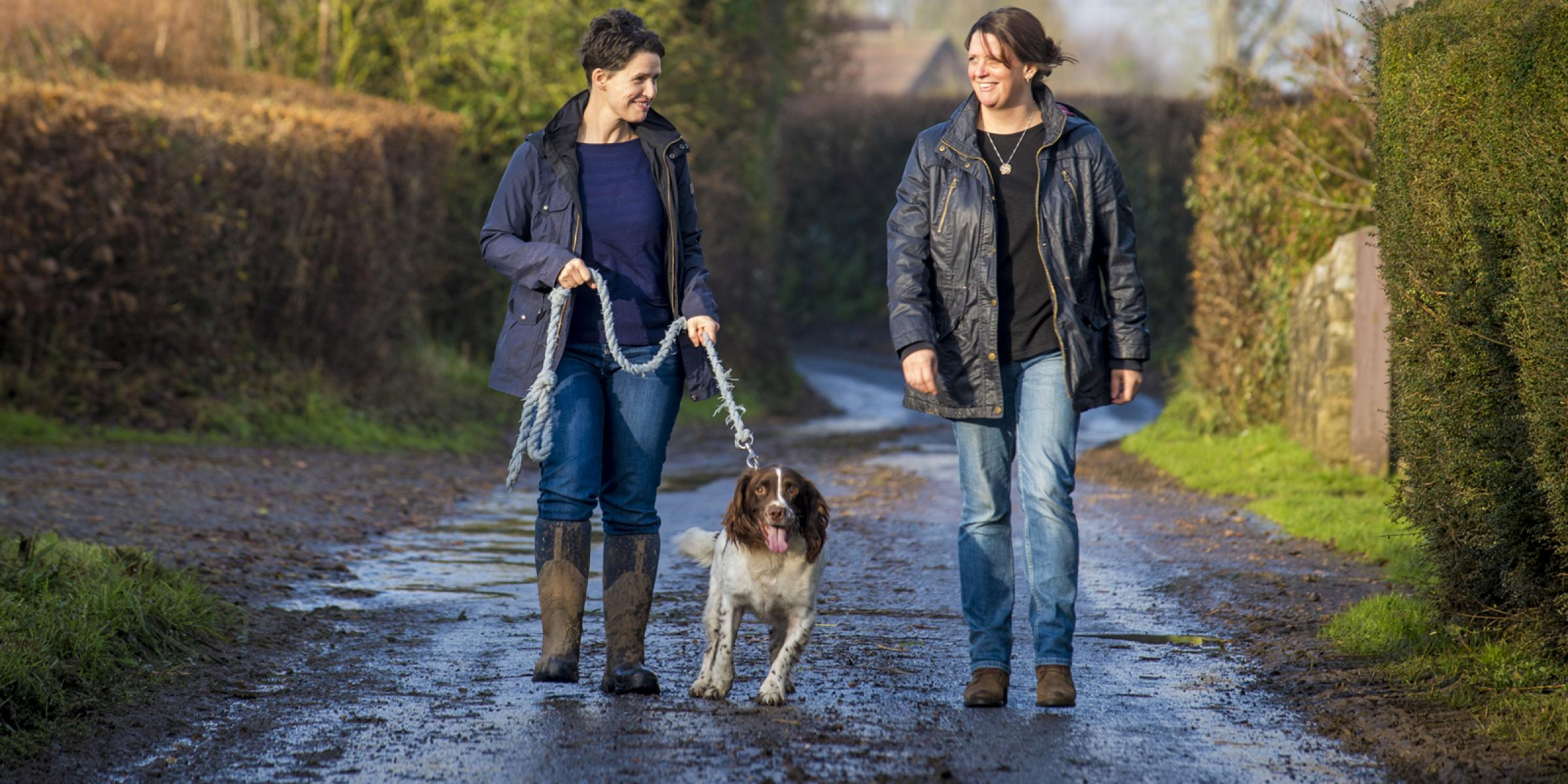 Karenza Frear out with her sister and dog.