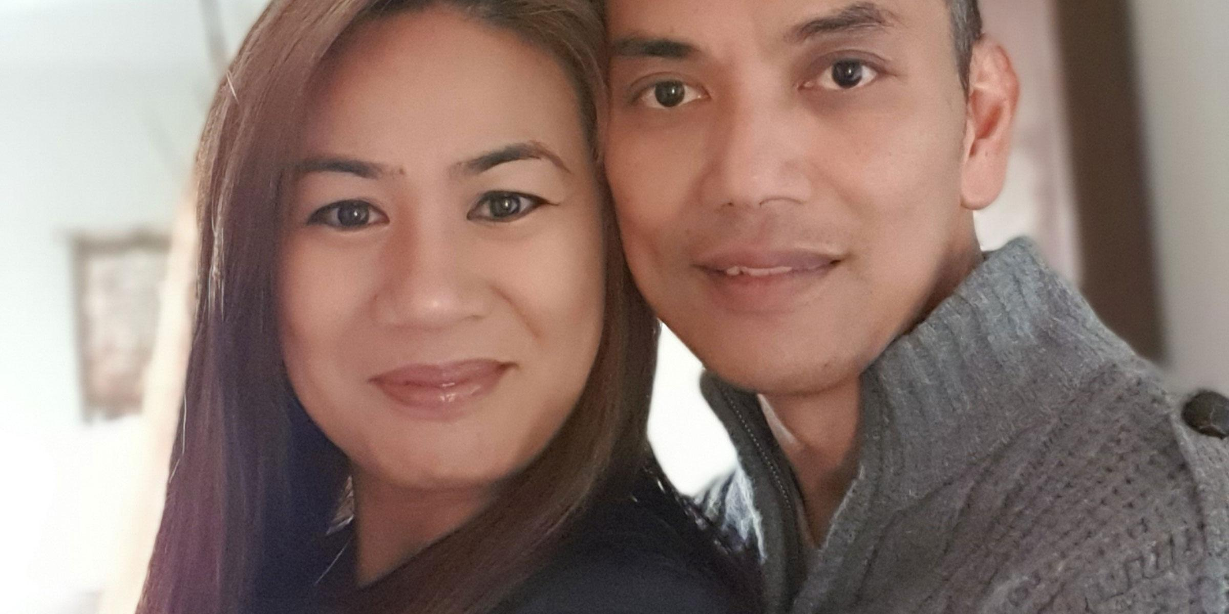 Michelle Macadangdang with her husband David
