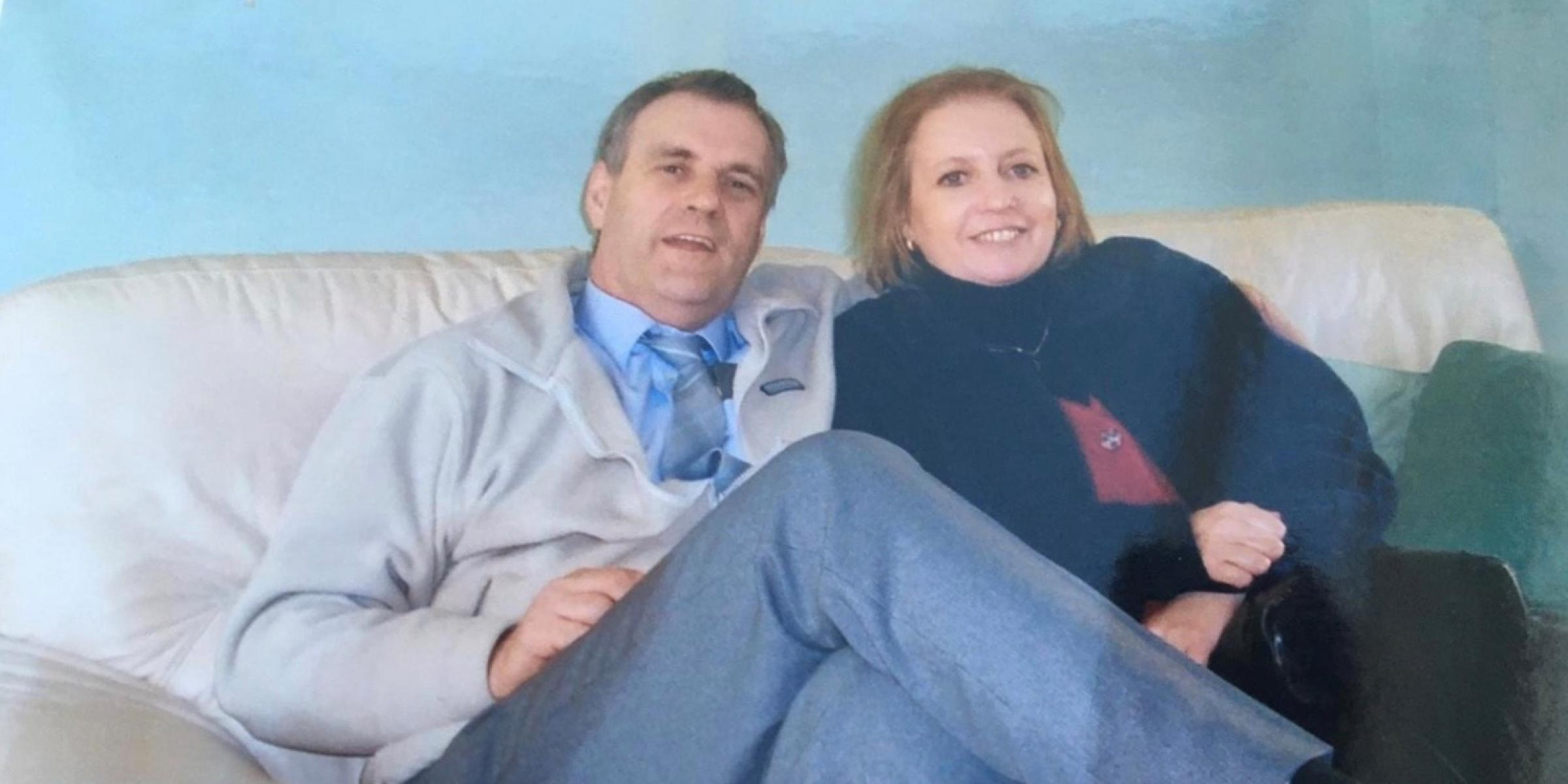 Peter and Joyce sitting on the sofa a number of years ago