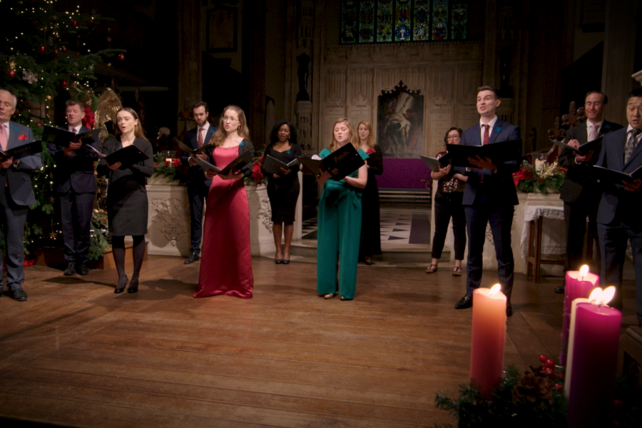 Choir performing for virtual Carols at Christmas