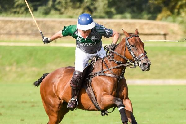 A man on a horse playing polo