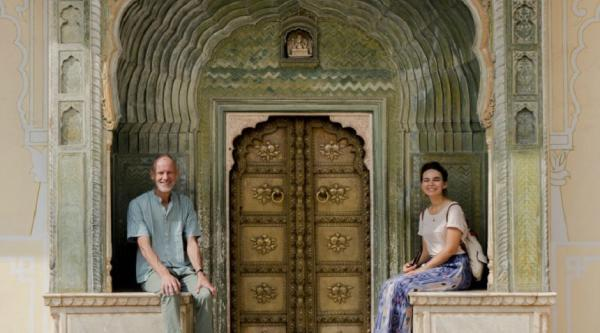 Katherine and her dad in India