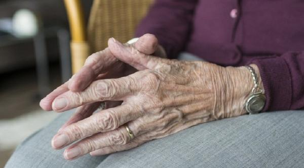 A close up of an elderly woman's hands