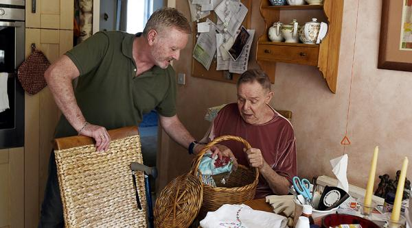 A homecare worker supporting a person with dementia