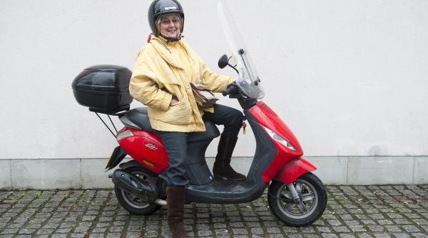 Jane on her scooter