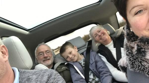 Vanessa Streete and her family in a car