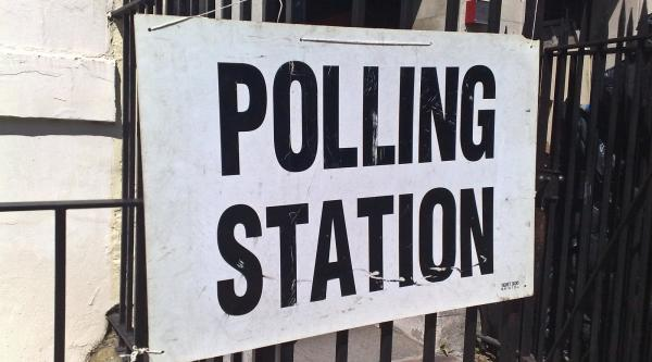 Polling station sign