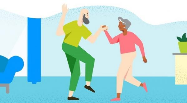 Illustration of an older couple dancing