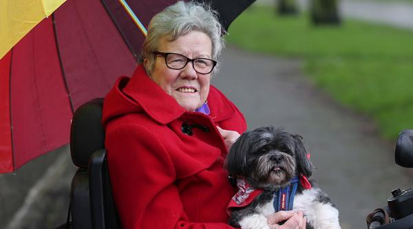 Anne with her dog.