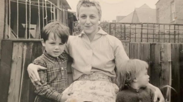 An old photo of Julie's mum, Eileen, with two of her children