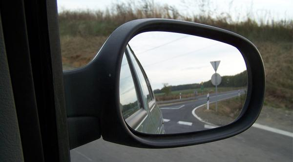 View in a car's wing mirror