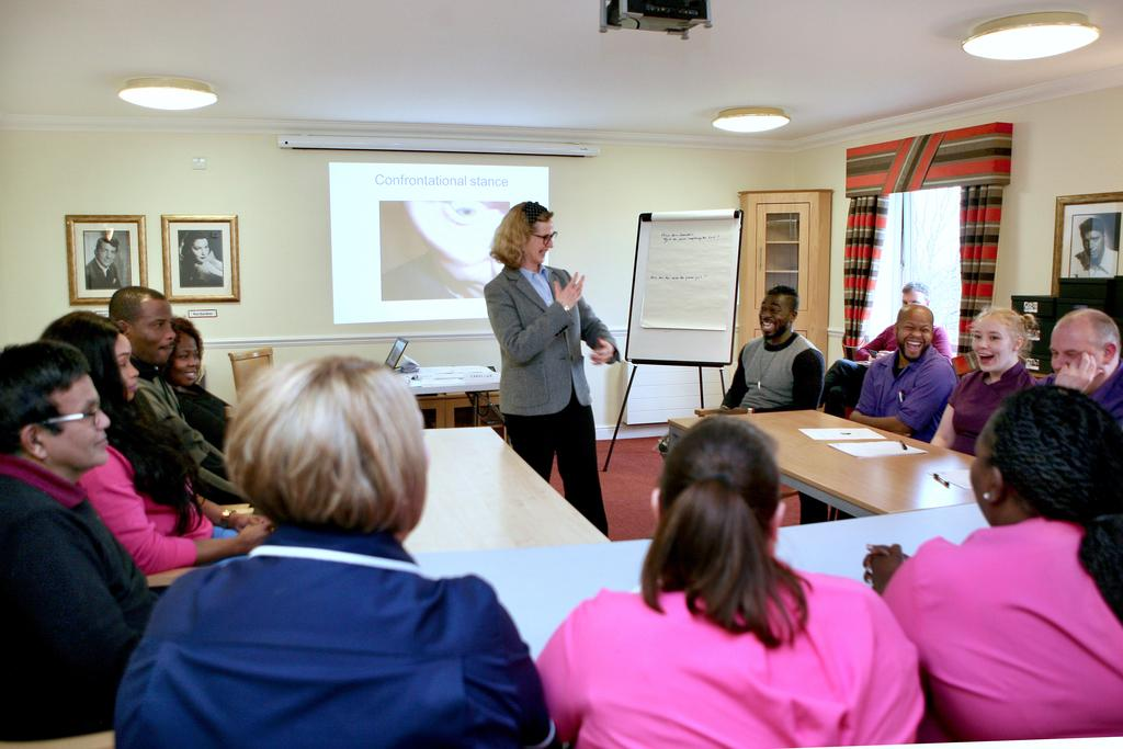 A training session for care home staff