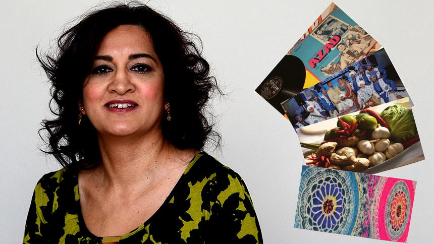 Taruna Chauhan and some of her reminiscence cards.