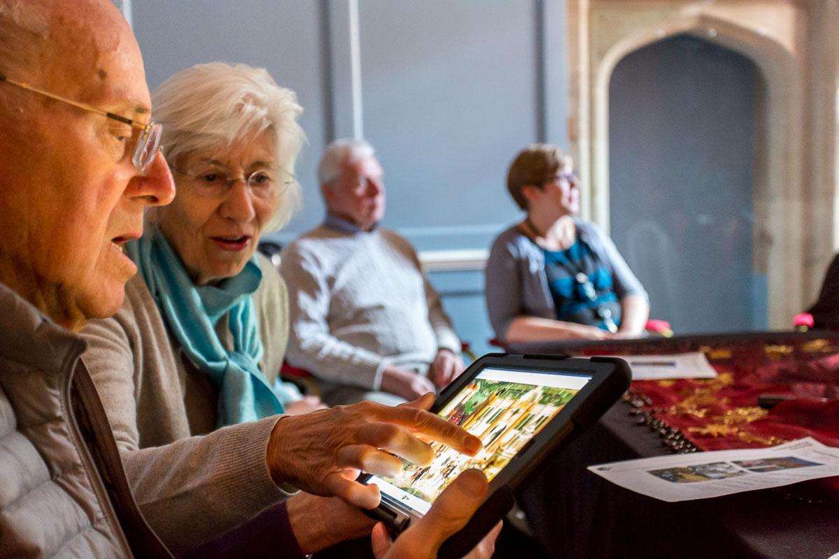 People using ipads at the Historic Royal Palace