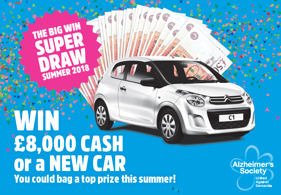 Summer draw image with cash and a car