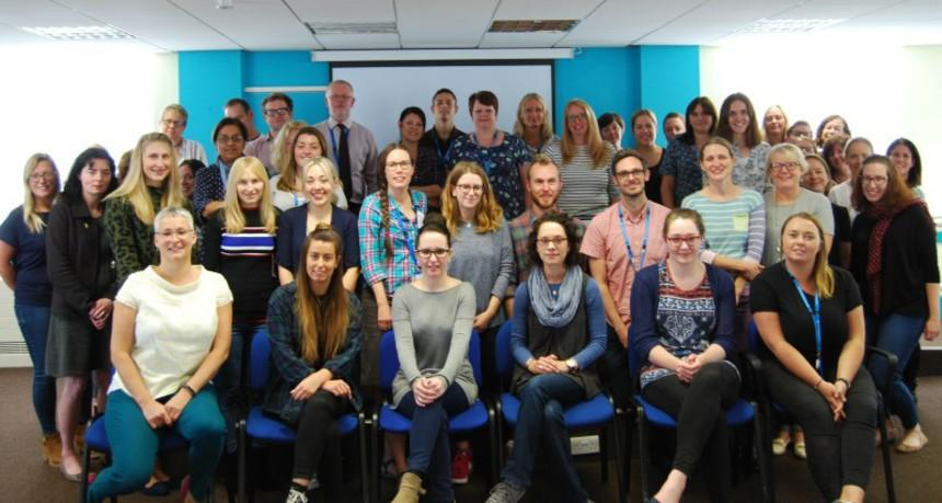 NHS and Alzheimer's Society staff side by side in Bristol