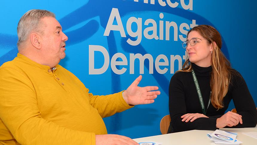Nigel Hullah chatting with Alzheimer's Society's Hannah Fitzgibbon.