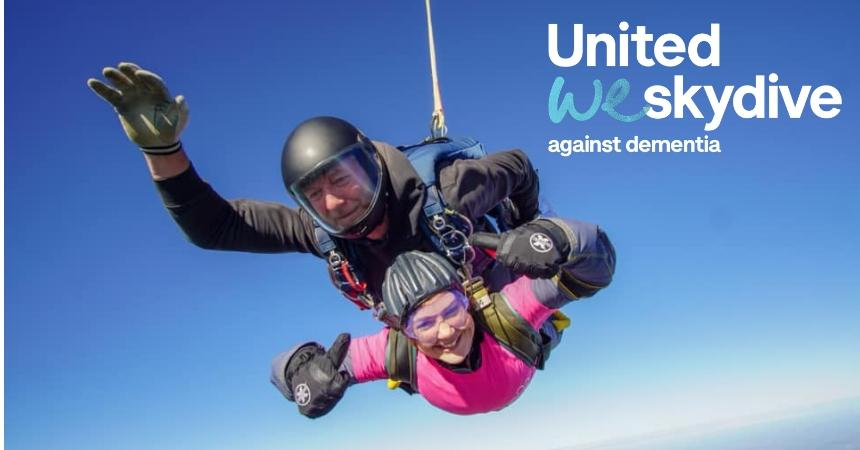 Alzheimers Society supporter skydiving