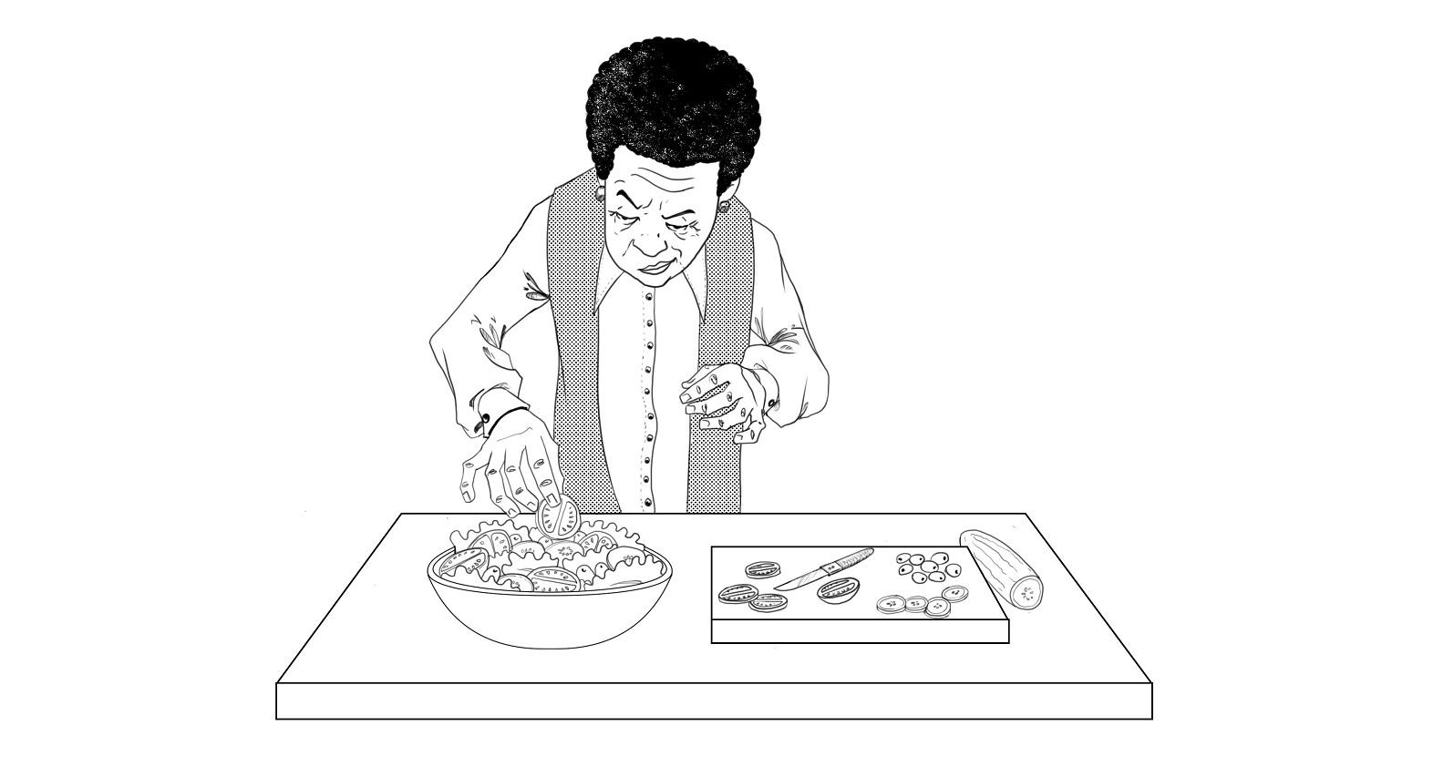 Mom cooking illustration by Michael Powell