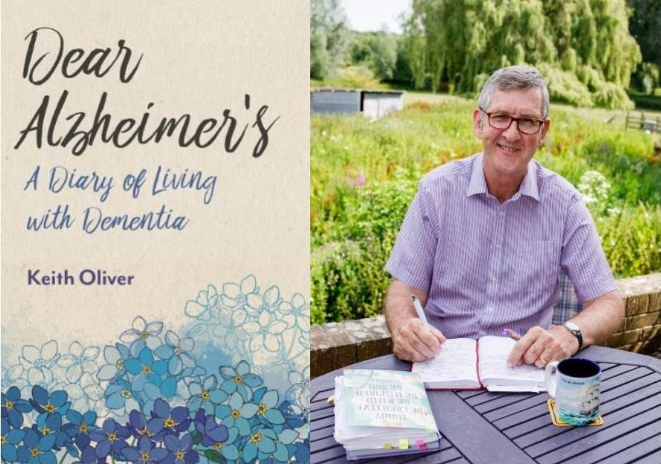 Keith Oliver and the front cover of his book 'Dear Alzheimer's'