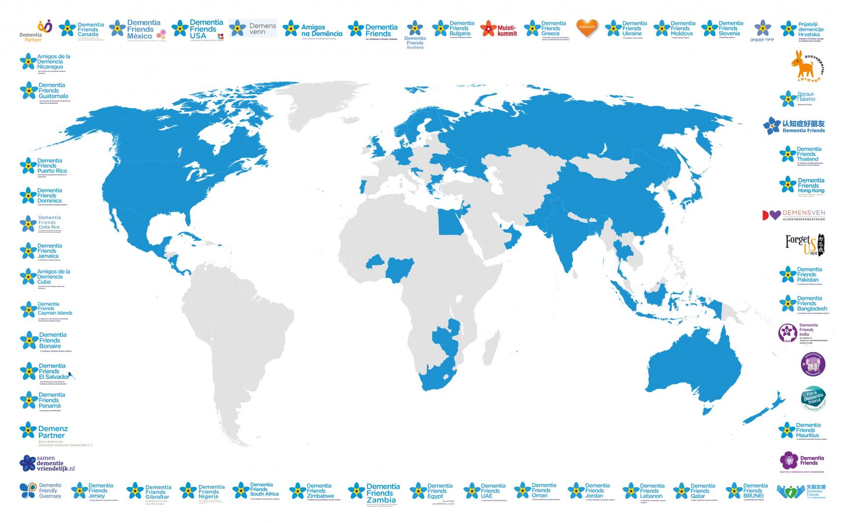 Global Dementia Friends on a map