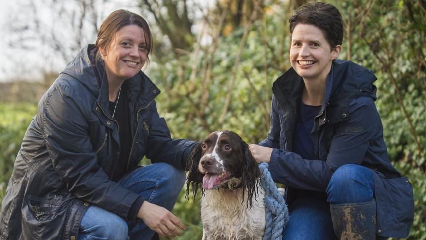Karenza Frear with her sister and dog