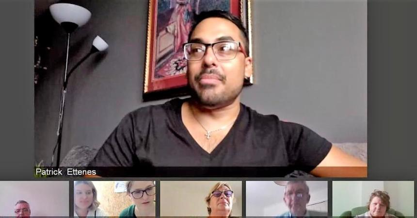 A group video call taking place online