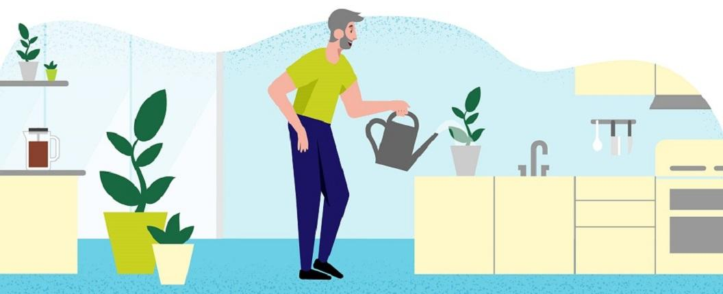 Illustration of a person with dementia watering a plant