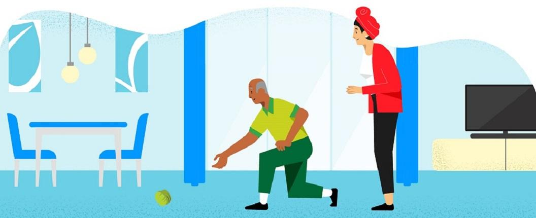 Illustration of two people playing DIY sports at home