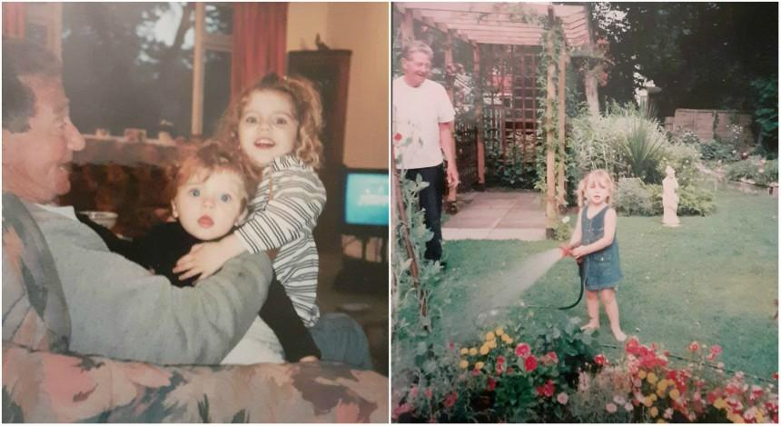 Old photos of a younger Ruby and her sister with her their Grandad, George