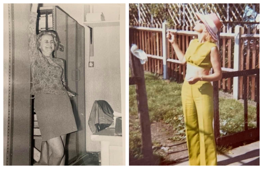 Julie's mum, Eileen, in two outfits